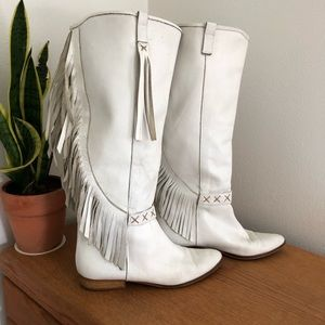 Vintage White Leather Fringe Boots Made in Italy
